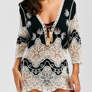 New  Beach Sexy Crochet Lace Cover Up
